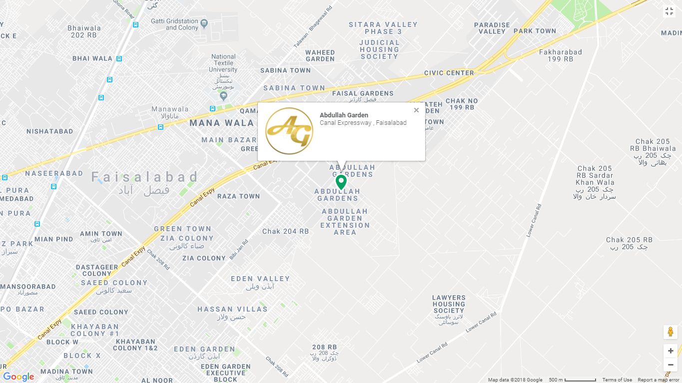 Abdullah Garden Faisalabad Location Map