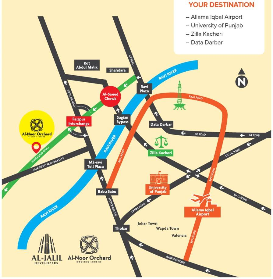 Al Noor Orchard Lahore Location Map