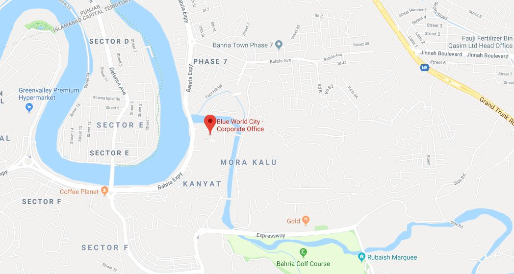 Blue World City Islamabad Location Map