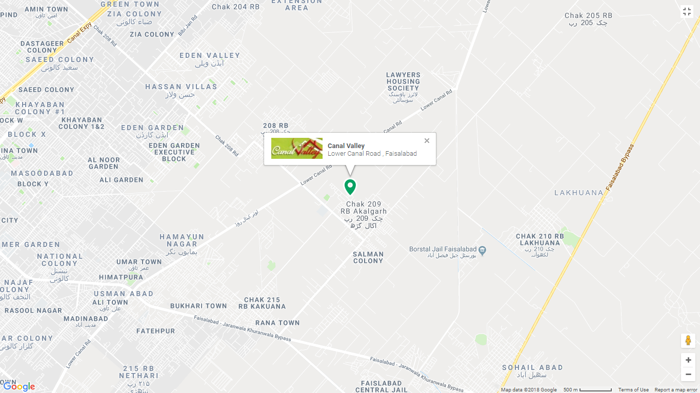 Canal Valley Faisalabad Location Map