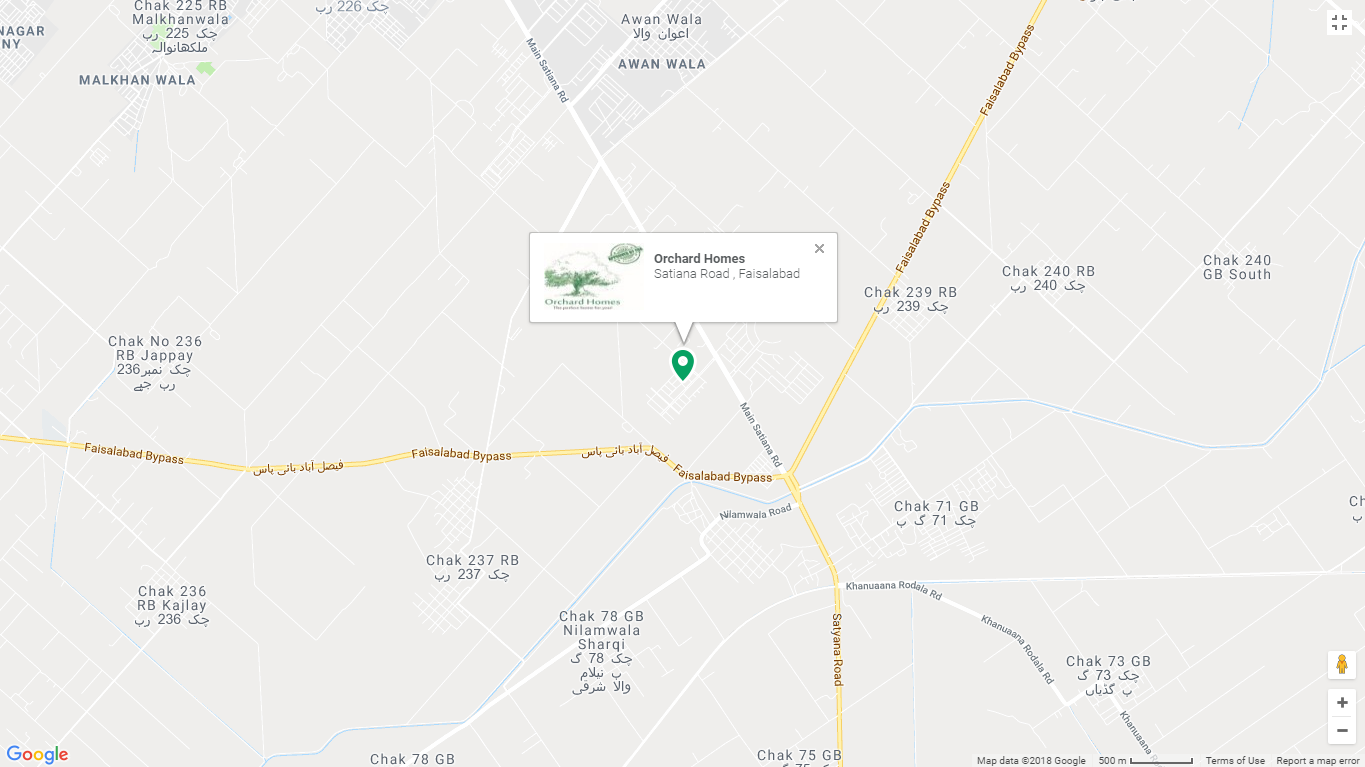 Orchard Homes Faisalabad Location Map