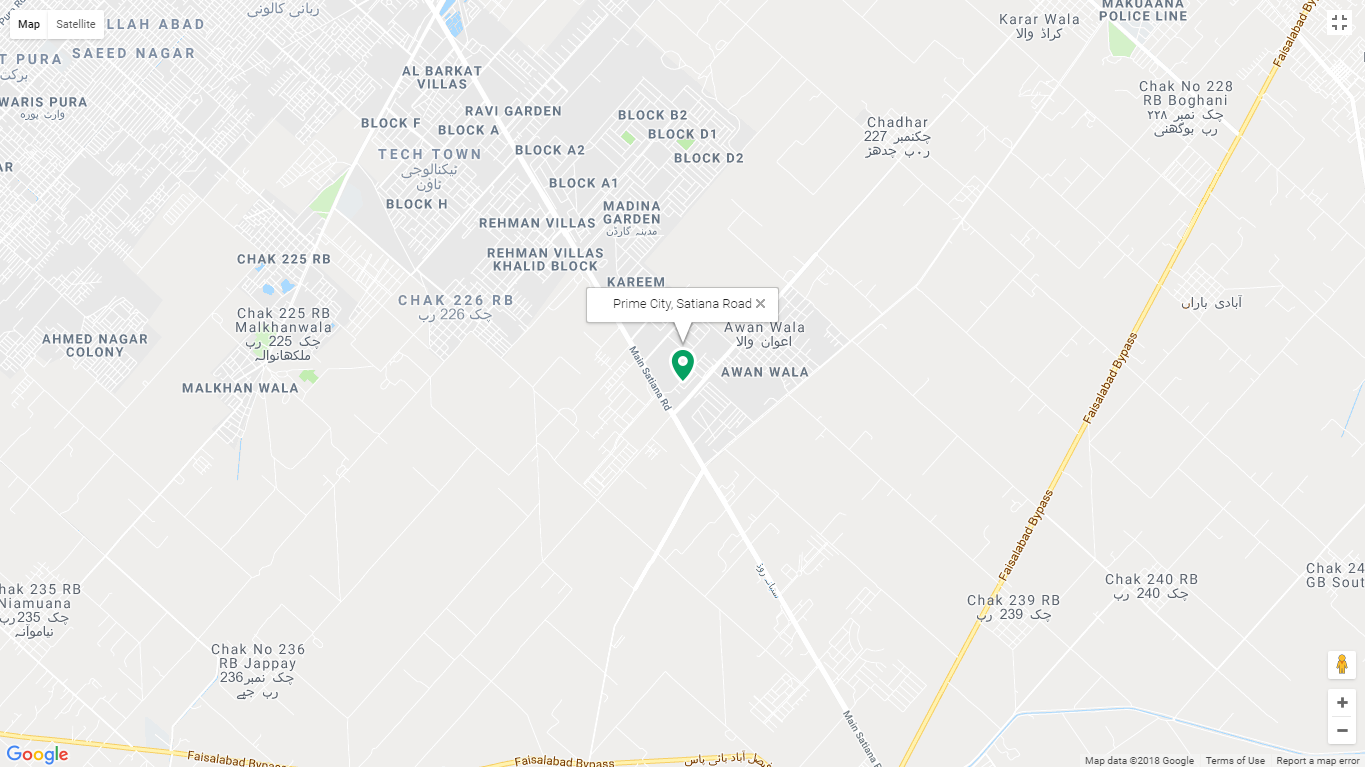 Prime City Faisalabad Location Map