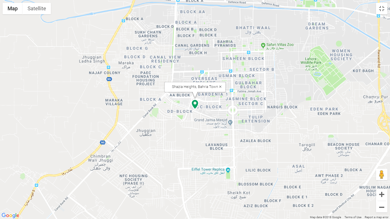 Shazia Heights Lahore Location Map