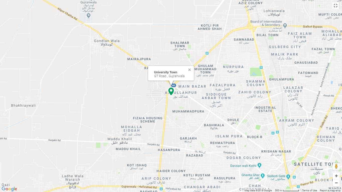 University Town Gujranwala Location Map