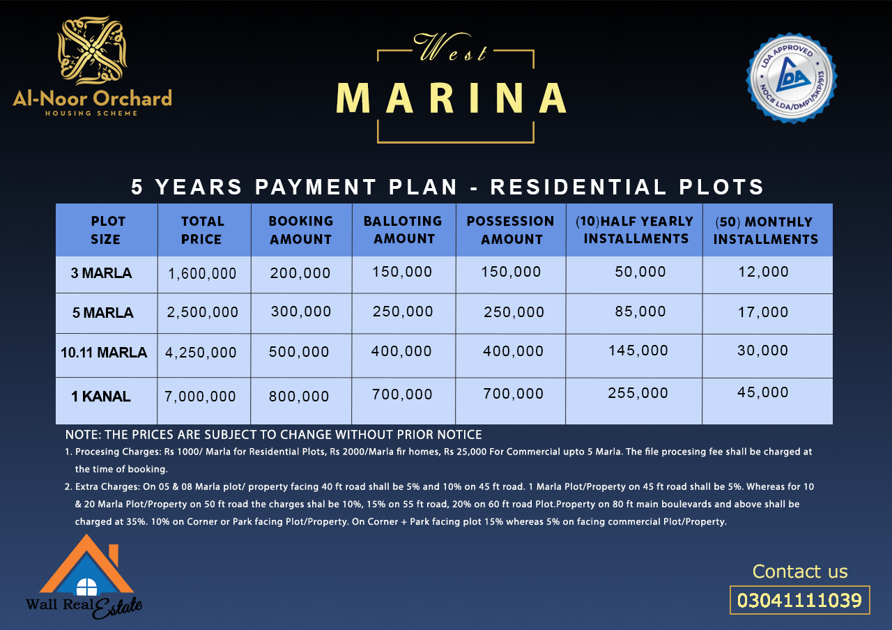 Al Noor Orchard West Marina Payment Plan