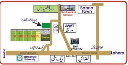 St Greenland Housing Scheme Lahore Location Map
