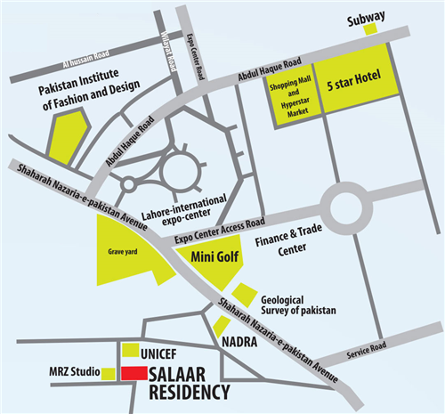 Salaar Residency Lahore Location Map