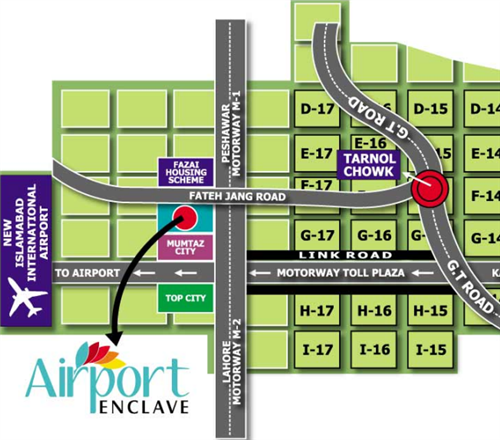 New City Islamabad: Airport Enclave Islamabad Location Map