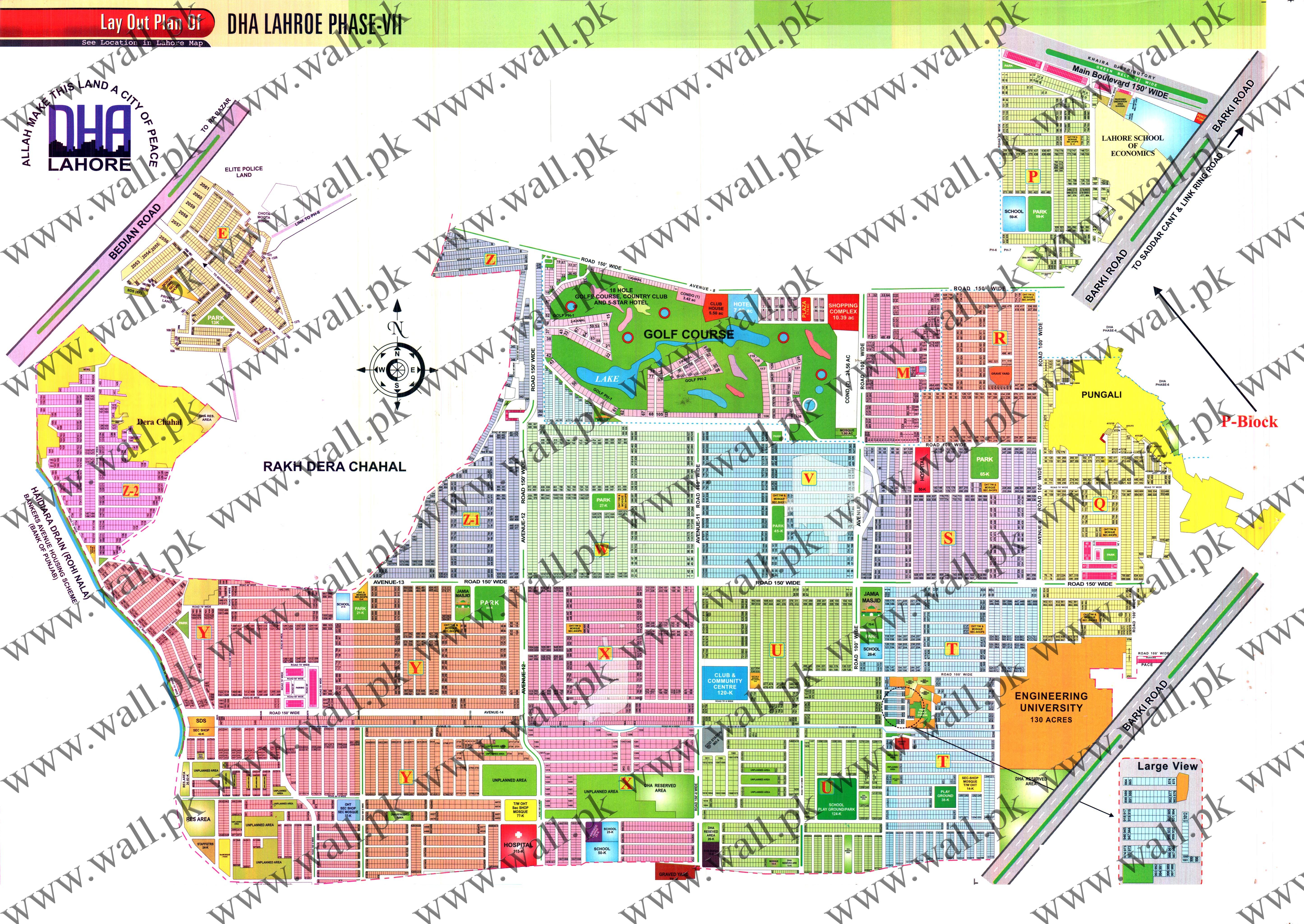 Latest Map Of DHA Lahore Phase 7, Location, New Map