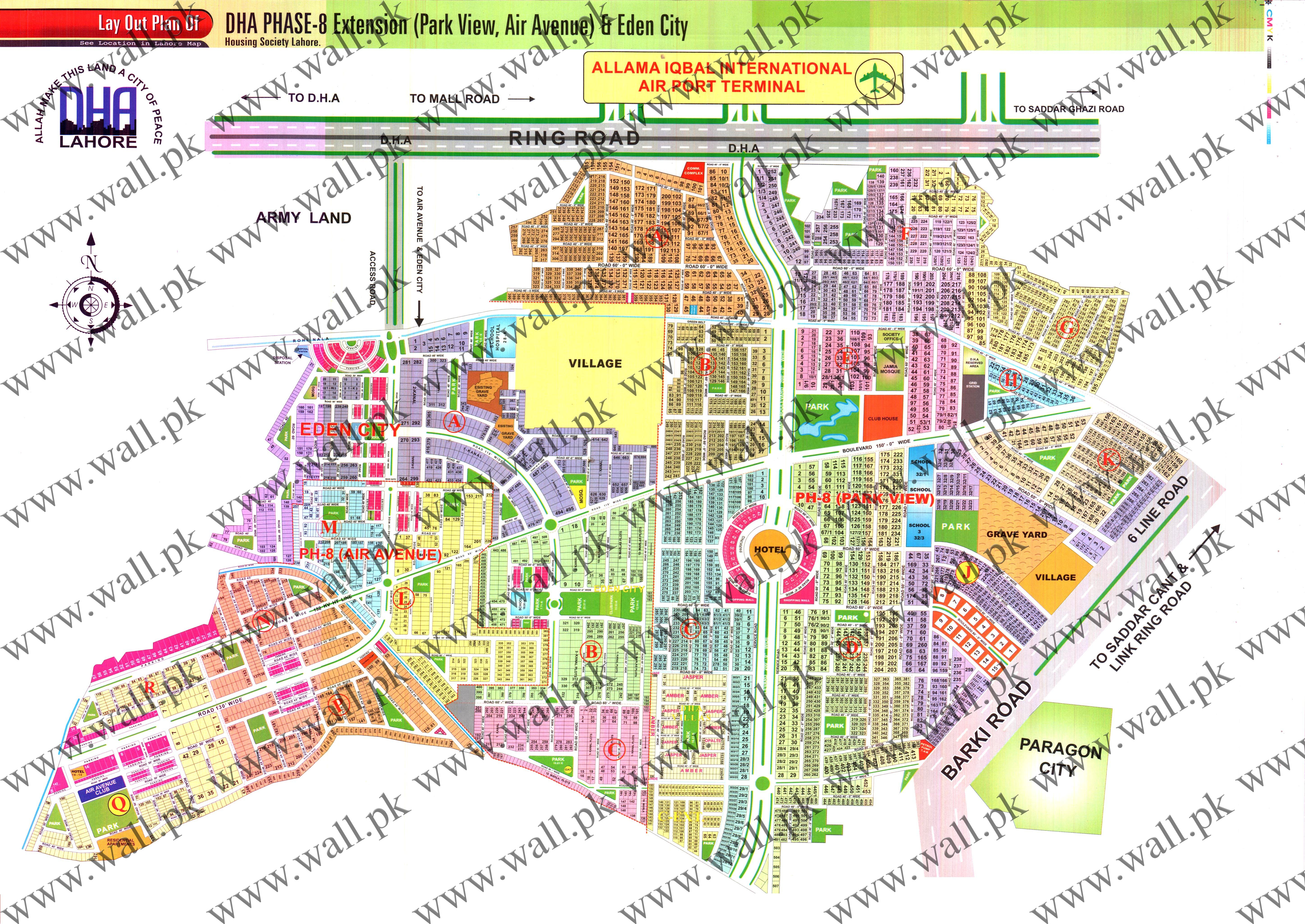 latest map of dha lahore phase  park view location new map - view full map